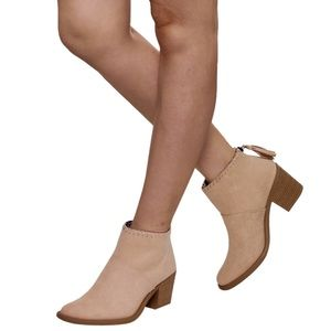 Cream Western Stitched Ankle Bootie