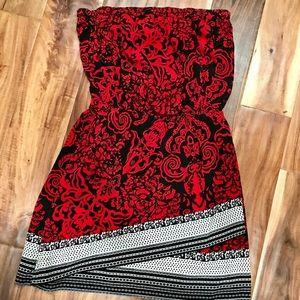 Express Strapless Red Dress