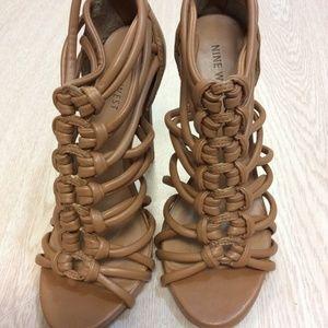 Tan Knotty Gladiator Nine West Heels