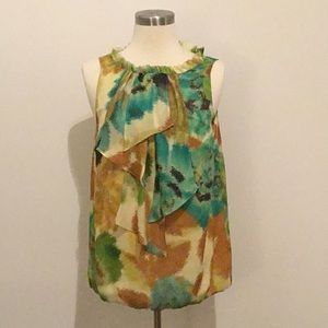 Green and brown print tank