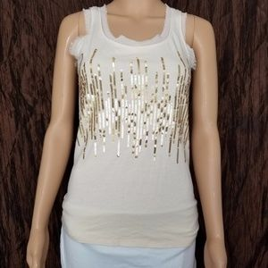 LOFT Ann Taylor Sequin Tank Top Size S Tan Gold