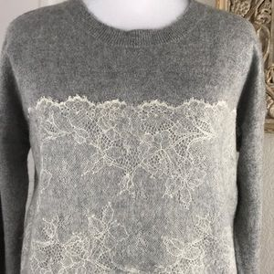 J. Crew Needle Punched Lace Sweater Wool Blend