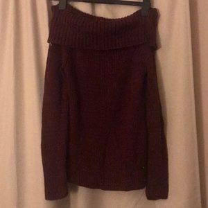 Off the shoulder burgundy sweater