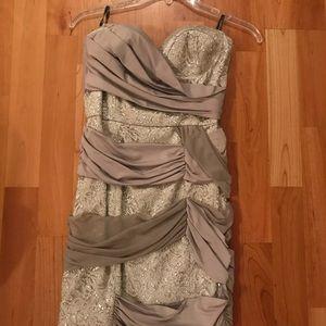 Short gray and silver Bebe Formal Dress