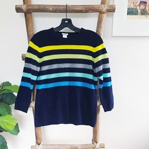 J. Crew cashmere sweater - navy with stripes - M