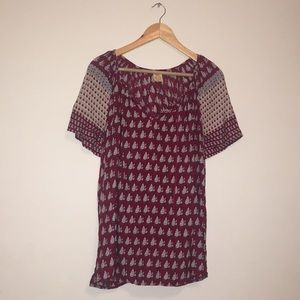Faded Glory Red Patterned Blouse