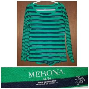 green & navy striped long-sleeve top ~ size M