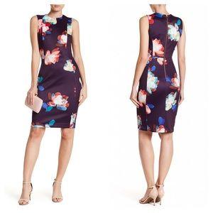 Calvin Klein Dress 10 Flower Scuba Sheath Purple