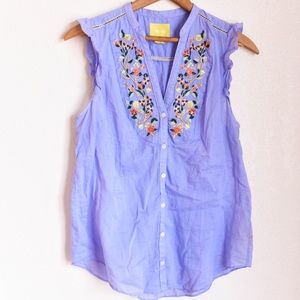 Anthropologie top with floral embroidery