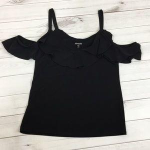 Express black cold shoulder top