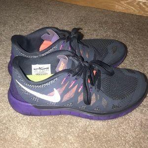 Gray/Purple Nike Free 5.0 Size 7.5