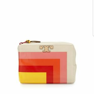 New Tory Burch medium striped cosmetic bag