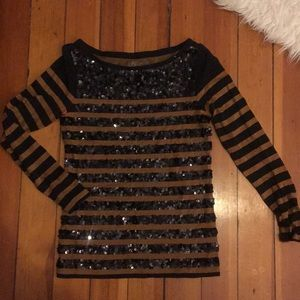 Loft black sequin & gold striped long sleeve XXSP