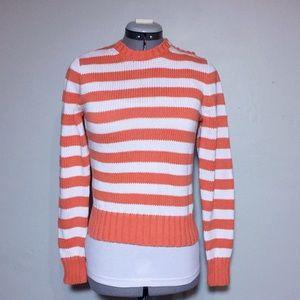 J. Crew Orange & White Stripe Sweater