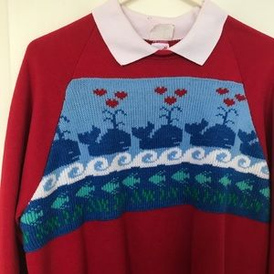RARE Vintage Christmas Heart Whales Ugly Sweater