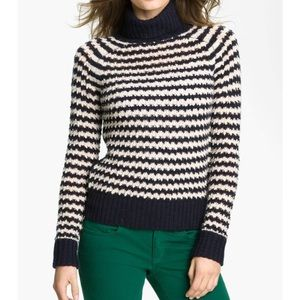 Tory Burch Striped Turtleneck Sweater