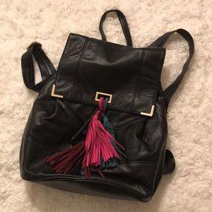 Deux Lux: Black Leather Tassel Backpack
