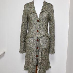 BCBG Max Azria Long Green Knit Cardigan