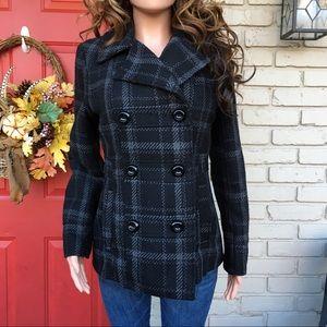 Black gray wool blend pea coat