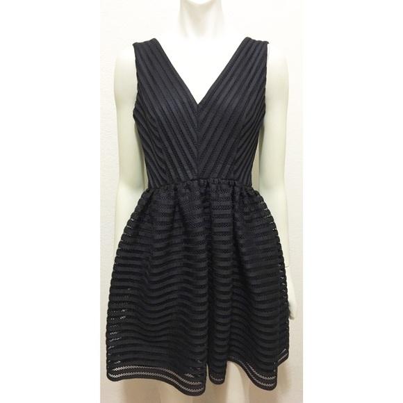 2fea3a8d14d Bloomingdale s Dresses   Skirts - AQUA Small Black Mesh Neoprene Striped  Dress