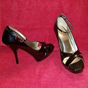 Wild Diva Black Patent Ankle Strap Platform Heels