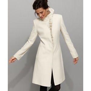 DKNY RUFFLE TRIM COAT, WINTER WHITE_#123-154