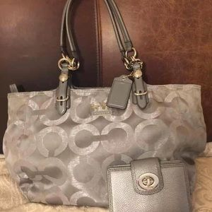 Coach Mia Metallic Silver Gray Bag & Wallet Set