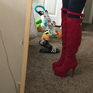 Shoes - Red Over the Knee Boots