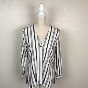 Topshop Stripped V-Neck Button Down Tunic Top