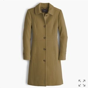 JCREW petite double-cloth lady day coat in olive