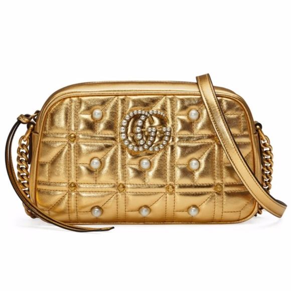 8c2cbcf4ac565 Gold Gucci GG Marmont Studded Metallic Leather Bag NWT