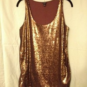 Bronze sequin tank top