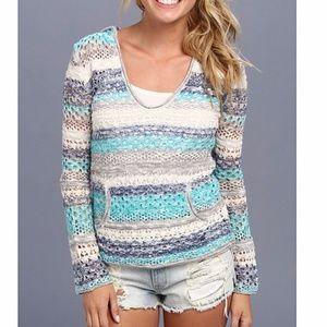NWOT Roxy Gridley Open Knit Sweater in Sea Spray