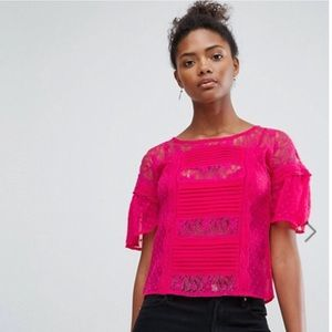 ASOS Sheer Front Lace Tie Back Blouse