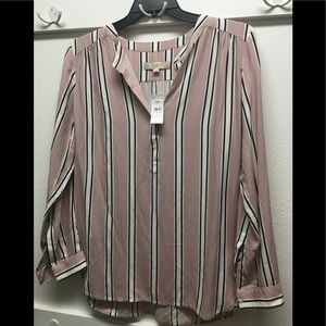 $59 M LOFT mauve pink rayon blouse shirt NEW NWT