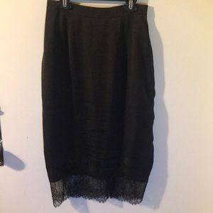 Black Pencil skirt w/ lace hem detail by ASOS
