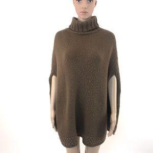 Brown Wool/Acrylic Knit Poncho by Zara, size M