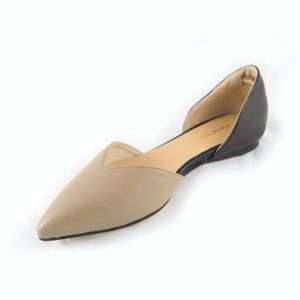 Beige and Black leather d'orsay flat