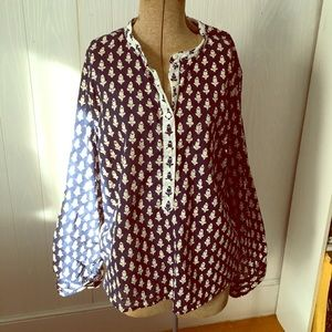 J crew blue and white size L blouse