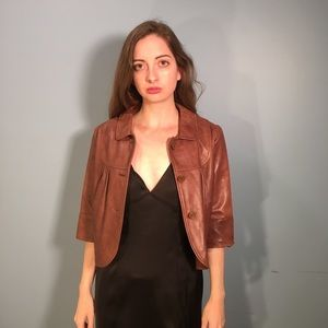 Report Crop Faux Leather Jacket Size S