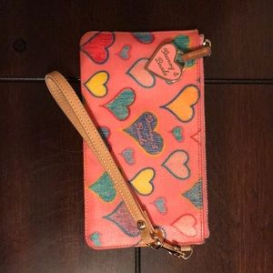 Pink Dooney and Bourke Wristlet with hearts