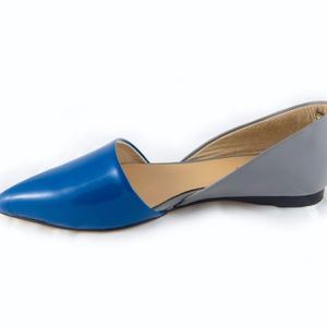 Blue and Gray leather D'orsay flat by All Black