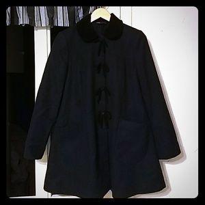 Topshop Navy Blue Wool Swing Coat with Velvet Bows