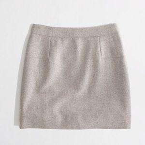 Heathered Oatmeal Double Serge Mini Skirt Pockets
