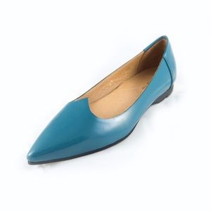 Teal leather flats by All Black