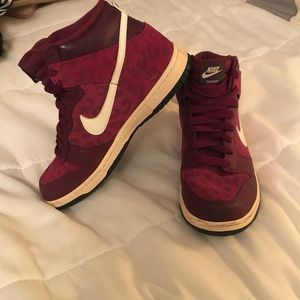 Nike maroon and fuchsia high top sneakers