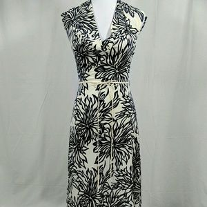 Stunning Ivory & Black Floral Drape Neck Dress