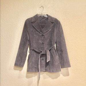 Preston and York Grey Leather Suede Coat with Belt
