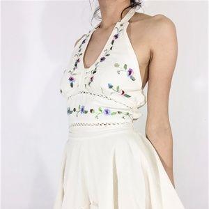 Vintage Handmade Linen Embroidered Swing Dress