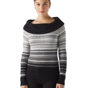 Silver and Black Cowl Neck Sweater